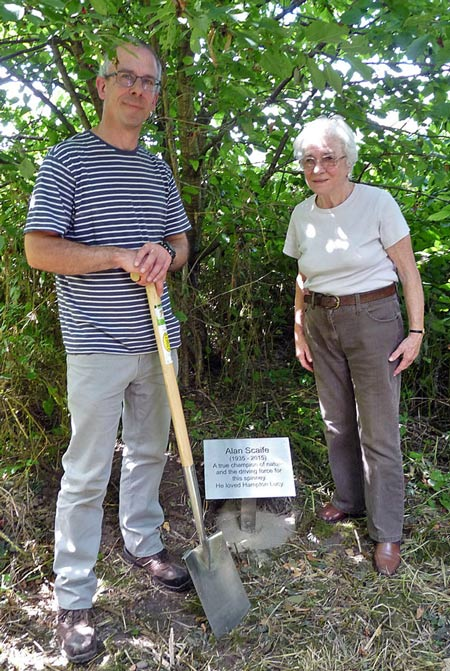 Stephen Scaife, Helga Scaife and the plaque in the Spinney