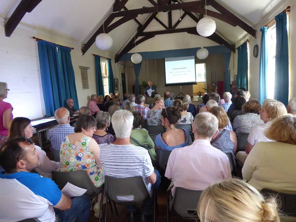 The audience in the Village Hall